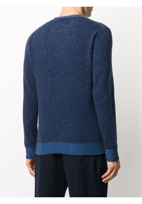 Maglione girocollo con finiture a contrasto in misto lana vergine e cashmere blu navy e blu medio ALTEA   Maglieria   206103201