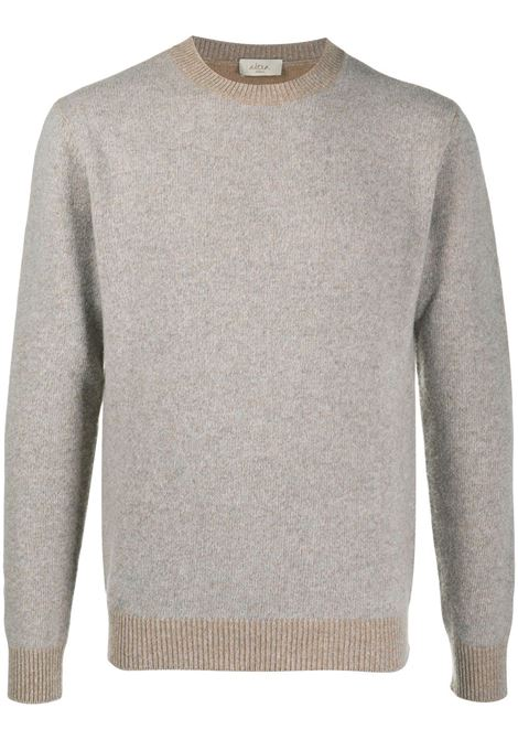 Beige and grey cashmere and virgin wool two-tone crew neck sweater  ALTEA |  | 206103223