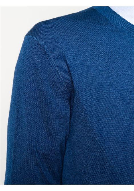 Maglia girocollo in lana vergine blu con lavorazione a maglia fine ALTEA   Maglieria   206113008