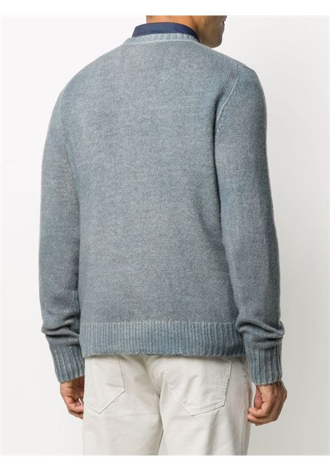 Blue virgin wool spray effect knitted crew neck jumper  ALTEA |  | 206117211