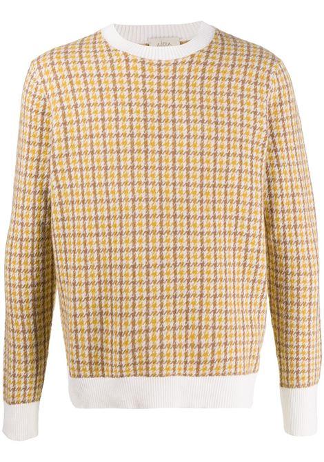 Yellow virgin wool long-sleeve jumper featuring houndstooth print ALTEA |  | 206119128