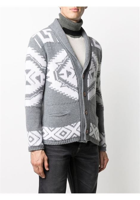 light grey and white wool-blend shawl-lapel cardigan featuring argyle intarsia knit ALTEA      206128622