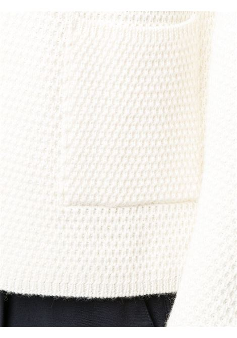 white shawl lapel cardigan featuring waffle knit ALTEA |  | 206129028