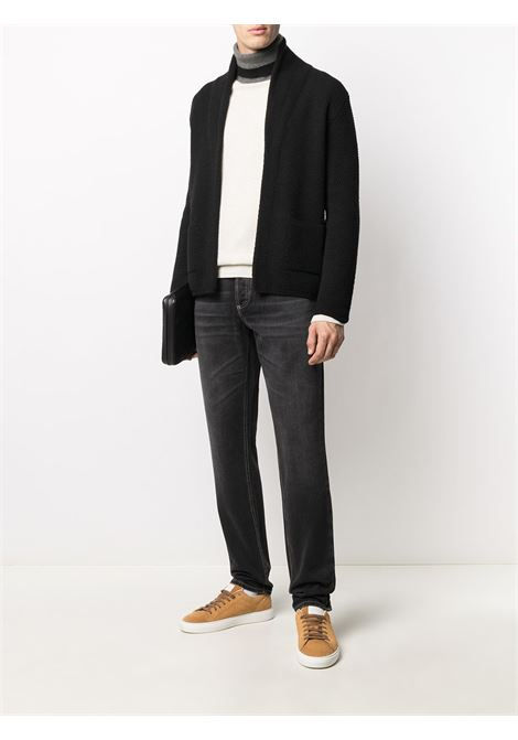 black shawl lapel knit cardigan featuring waffle knit ALTEA |  | 206129090