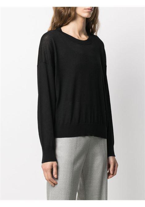 Black virgin wool lightweight knitted top  ALTEA |  | 206152690