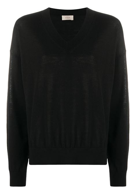 Black rib-trimmed virgin wool jumper featuring V-neck ALTEA |  | 206152790