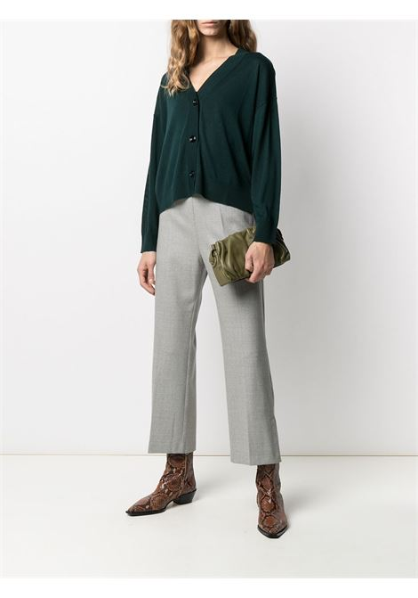 Cardigan in lana vergine verde scuro con bordo a coste ALTEA | Cardigan | 206152843