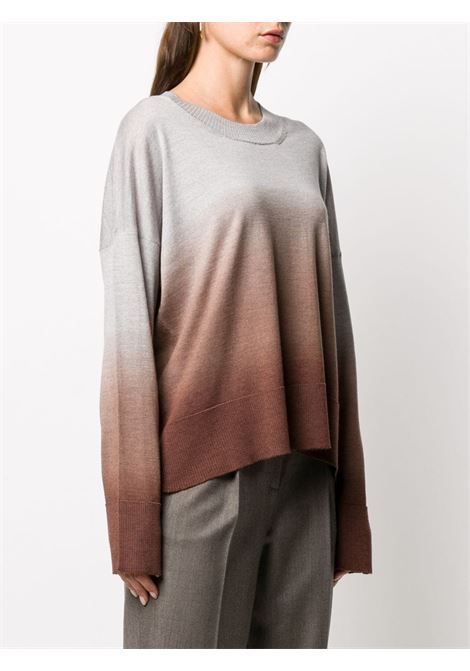 Grey and brown virgin wool slouchy gradient knit jumper ALTEA |  | 206156138