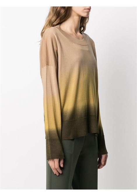 Brown and mustard yellow virgin wool tie-dye knitted top  ALTEA |  | 206156145