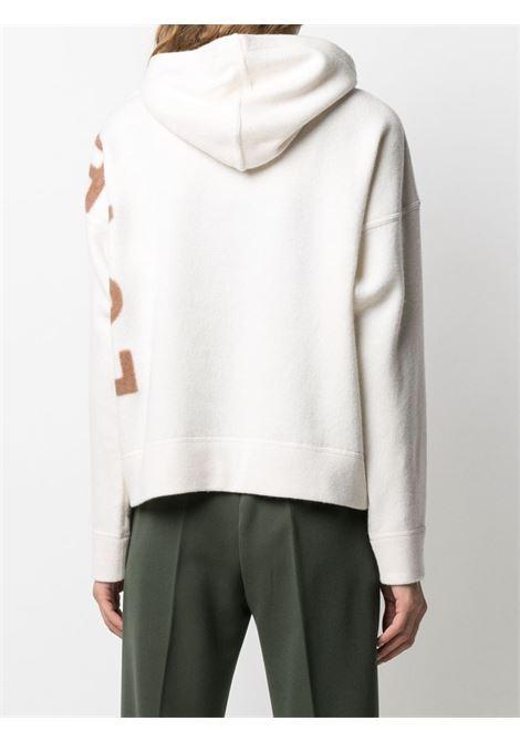 Felpa con cappuccio in lana vergine bianca con scritta Love For marrone stampata sulle maniche lunghe ALTEA | Maglieria | 206157528