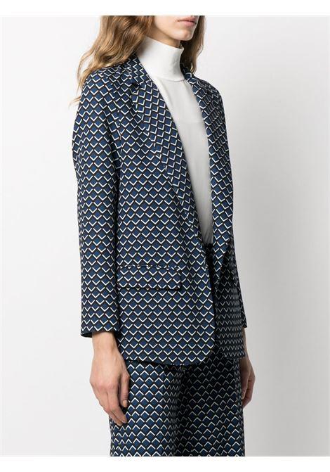Blue,black and white geometric-print single-breasted blazer  ALTEA |  | 206250901