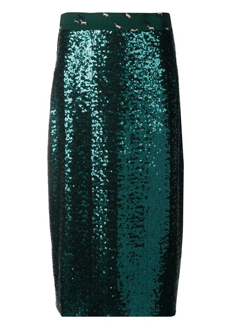 Emerald green sequin-embellished mid-length skirt  ALTEA |  | 206371942