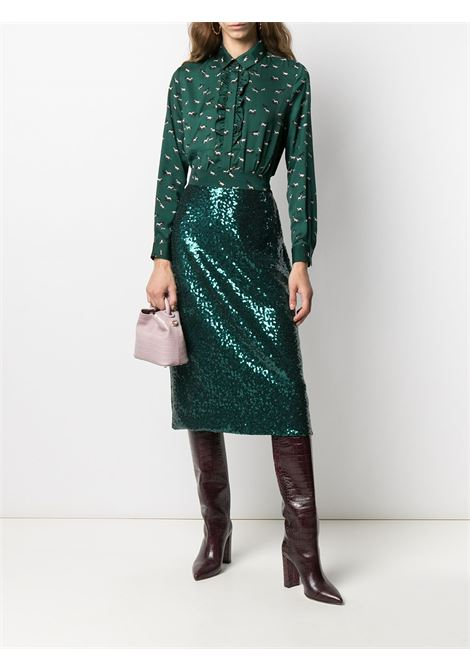 Gonna di media lunghezza impreziosita da paillettes verde smeraldo ALTEA | Gonne | 206371942