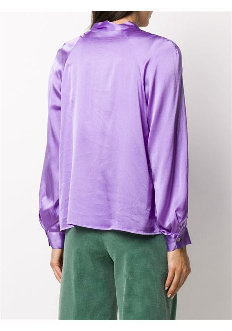 Purple stretch-silk pussy-bow satin blouse  ALTEA |  | 206450385