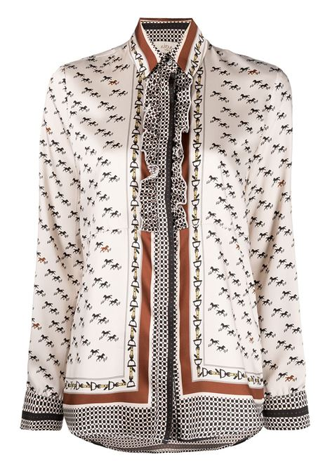 Beige,black red and brown equestrian-print shirt  featuring ruffled detailing ALTEA |  | 206462690