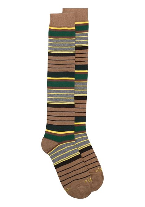Brown,grey and yellow cotton blend striped socks featuring ribbed detailing  ALTEA |  | 206804003