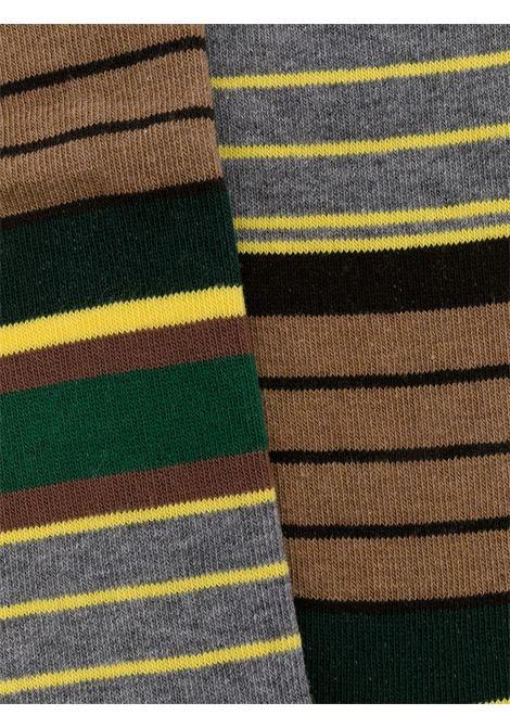 Calzini a righe in misto cotone marrone, grigio e giallo con dettagli a coste ALTEA | Calze | 206804003