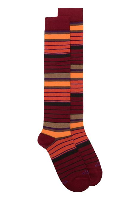 Deep red and multicolour stretch cottons striped mid-length socks featuring horizontal stripe print ALTEA |  | 206804004