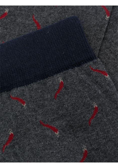 Grey, navy and red cotton-blend intarsia-knit socks   ALTEA |  | 206805902