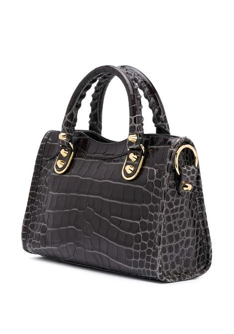 Mini borsa tote City in pelle di vitello grigio scuro con effetto coccodrillo goffrato BALENCIAGA | Borse a tracolla | 432831-1RO6G1309