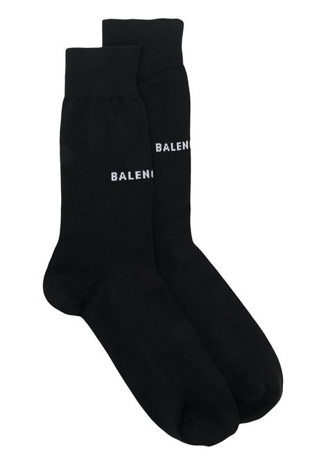 soft cotton-blend socks featuring a white Balenciaga printed logo BALENCIAGA |  | 512473-468B81077