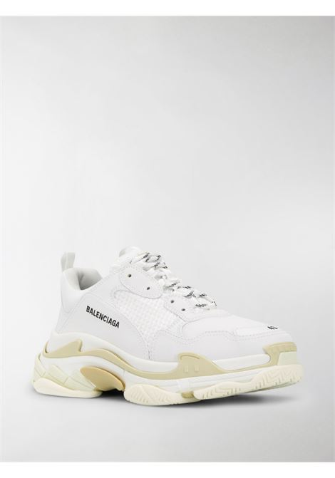 white leather Triple S low-top sneakers featuring mesh panelling with embroidered black Balenciaga logo BALENCIAGA |  | 534217-W2CA19000