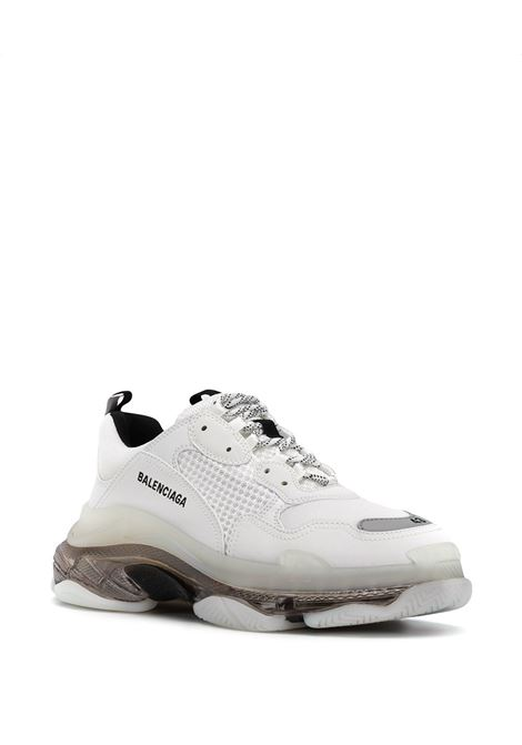 White and grey leather Triple S sneakers with transparent chunky sole. BALENCIAGA |  | 541624-W2GS19012