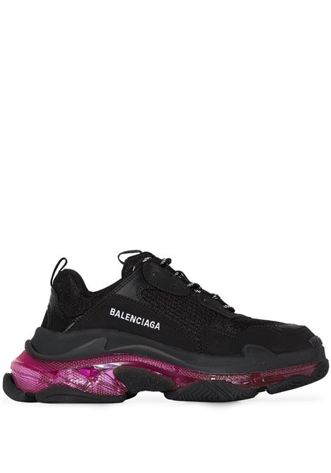 Black and transparent neon pink rubber Triple S sneakers  BALENCIAGA |  | 544351-W2FR11053