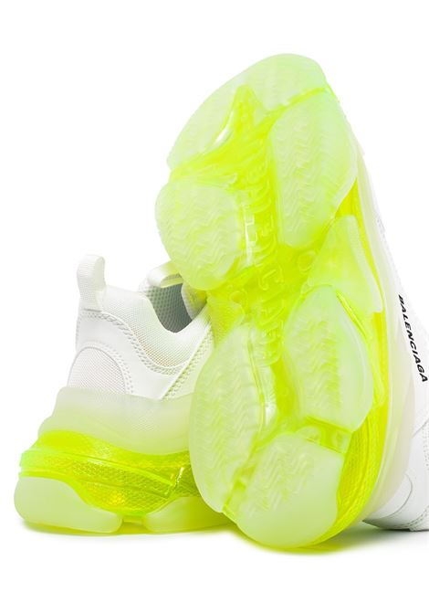 White and neon-green Triple S clear-sole sneakers  featuring mesh panelling BALENCIAGA |  | 544351-W2FR19073