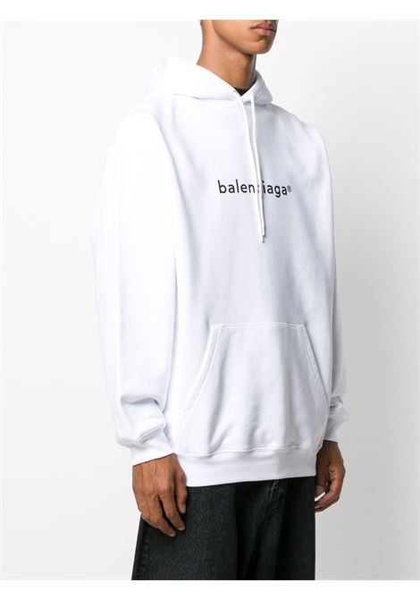 Felpa con cappuccio Trademark in cotone bianco con logo Balenciaga BALENCIAGA | Felpe | 570811-TIV559040