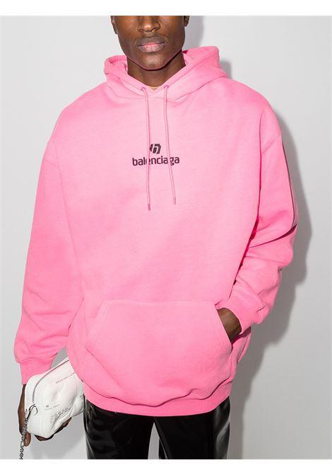 Felpa in cotone rosa con cappuccio con logo Balenciaga nero BALENCIAGA | Felpe | 570811-TJVE15764
