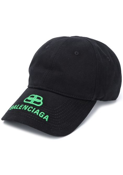 Black cotton baseball cap featuring green Balenciaga embroidered logo BALENCIAGA |  | 577548-410B21067