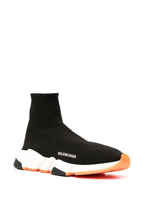 Black Speed sock sneakers featuring white Balenciaga logo and orange details BALENCIAGA |  | 587286-W17041917