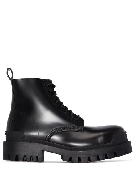 Black leather Strike lace-up boots featuring round toe BALENCIAGA |  | 589338-WA9601000
