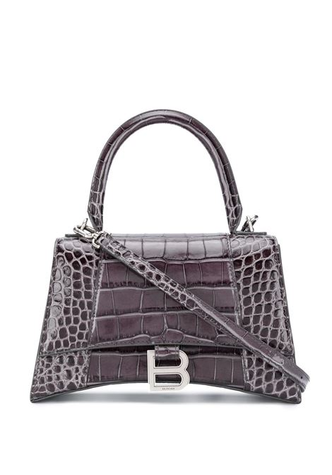 Dark grey calf leather small Hourglass top-handle bag featuring embossed crocodile effect BALENCIAGA |  | 593546-1LR6Y1309