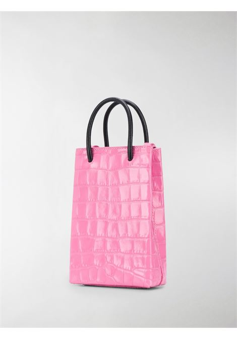 Pink and black calf leather shopping phone holder featuring embossed crocodile effect BALENCIAGA |  | 593826-1U61N5860
