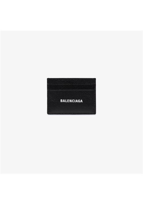 Porta carte di credito nero con logo Balenciaga bianco sul davanti BALENCIAGA | Portafogli | 594309-1IZI31090