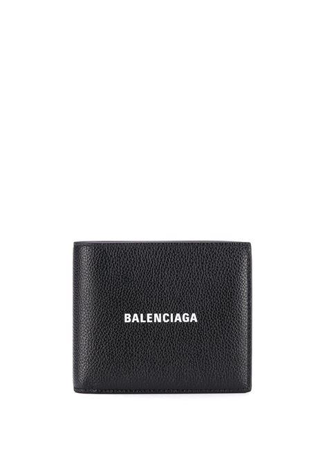 Portafoglio quadrato piegato in pelle nera con logo bianco Balenciaga BALENCIAGA | Portafogli | 594315-1IZI31090