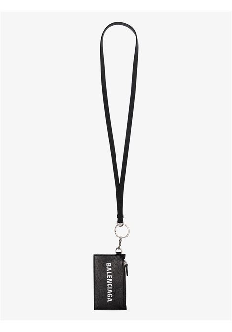 black leather cardholder featuring a top zip fastening and detachable wrist strap. BALENCIAGA |  | 594548-1IZI31090