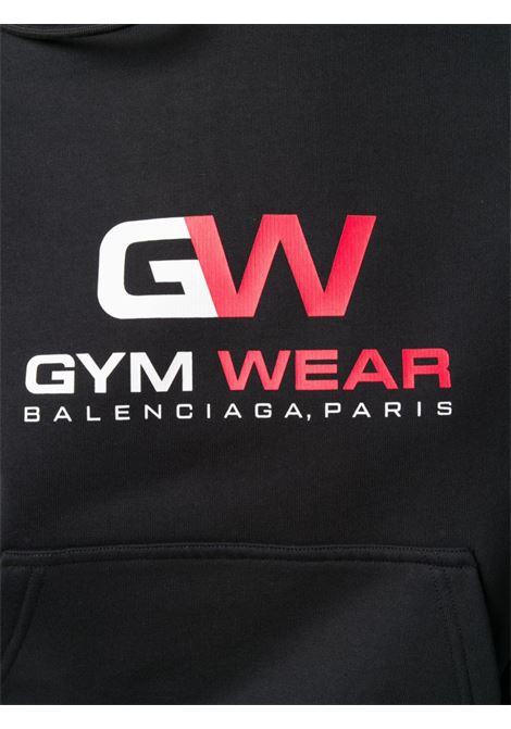 Felpa nera in cotone con stampa logo Gym Wear BALENCIAGA | Felpe | 612959-TIVD41000