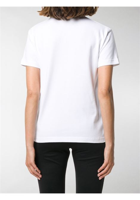 T-shirt slim fit in cotone bianco con lettering logo Balencaga nero BALENCIAGA | T-shirt | 612964-TIV549040