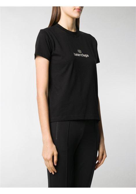 T-shirt in cotone nero con logo Balenciaga BALENCIAGA | T-shirt | 612964-TJVD91034
