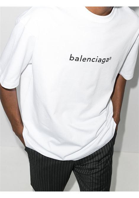 T-shirt in cotone bianco girocollo a maniche corte con stampa logo Balenciaga BALENCIAGA | T-shirt | 612966-TIV549040