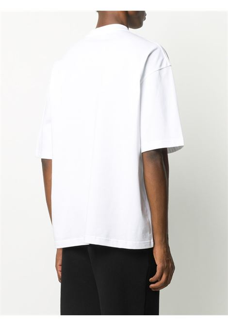T-shirt in cotone bianco nero e rosso con girocollo BALENCIAGA | T-shirt | 612966-TJVD69000