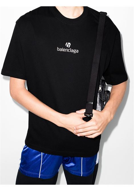 t-shirt in cotone jersey nero con logo Balenciaga bianco ricamato BALENCIAGA | T-shirt | 612966-TJVD91034