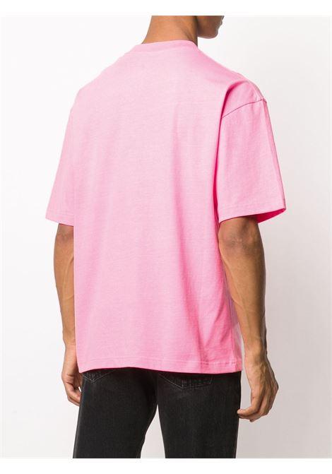 t-shirt in cotone jersey rosa con logo Balenciaga nero ricamato BALENCIAGA | T-shirt | 612966-TJVD95764