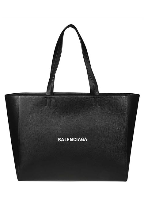 Shopping bag in pelle di vitello nero con lettering logo Balenciaga bianco BALENCIAGA | Borse tote | 618284-DLQ4N1000