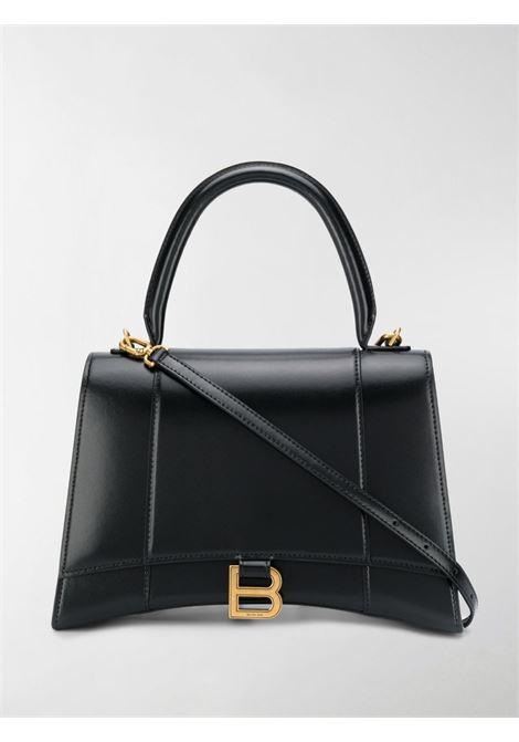 Black leather medium Hourglass tote bag featuring gold-tone hardware BALENCIAGA |  | 619668-1QJ4M1000