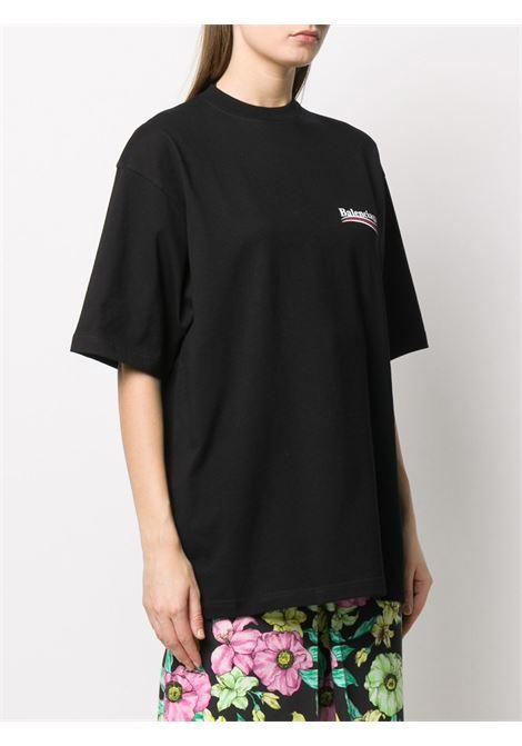 t.shirt girocollo in cotone nero maniche corte e orlo dritto con davanti e dietro Balenciaga BALENCIAGA | T-shirt | 620941-TIV521070