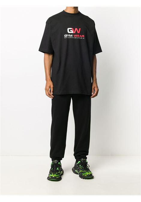 Black cotton Gym Wear red and white logo print  BALENCIAGA |  | 620969-TIVD51000